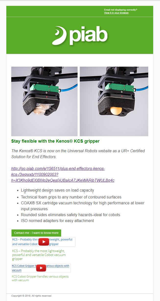 Piab's Kenos KCS now UR+ Certified